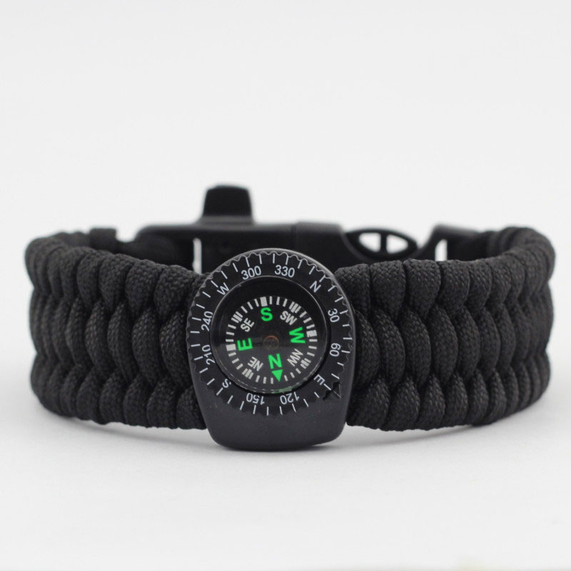 EK 5 in 1 Survival Kits Compass Bracelet Rescue Whistle Paracord Wristband Flint 853721