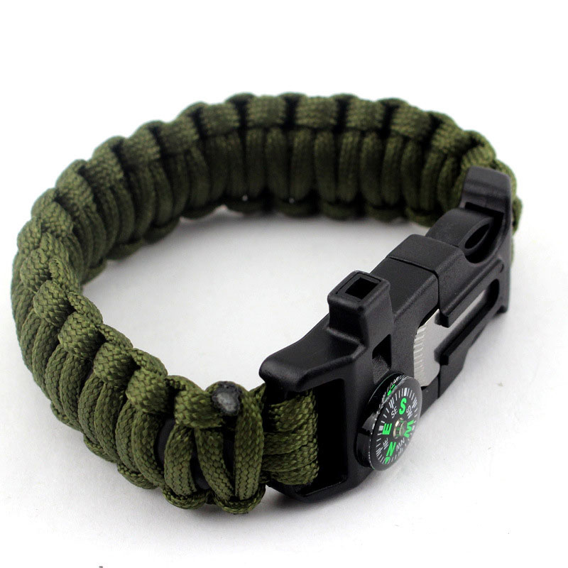 SOS Outdoor Survival Kit Fishing Tools Flint Knife Blade Paracord Compass Bracelet