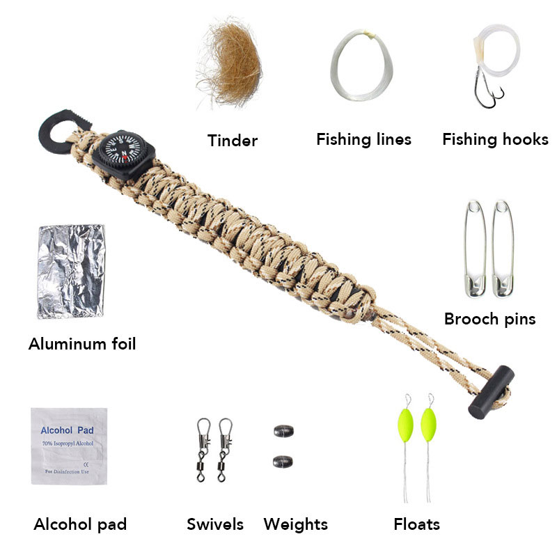 Outdoor Survival Kit Paracord Bracelet Compass Fishing Tools Flint Knife Blade Survival Bracelet