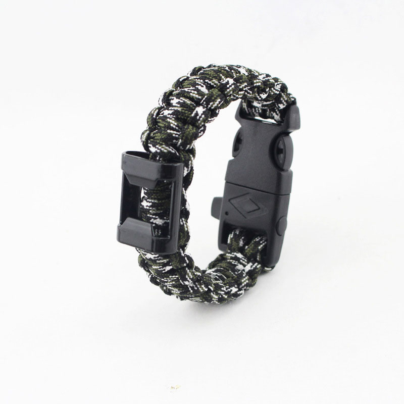 Survival Bracelet Outdoor 7 Feet Paracord Bracelet Scraper Whistle Flint Bottle Opener