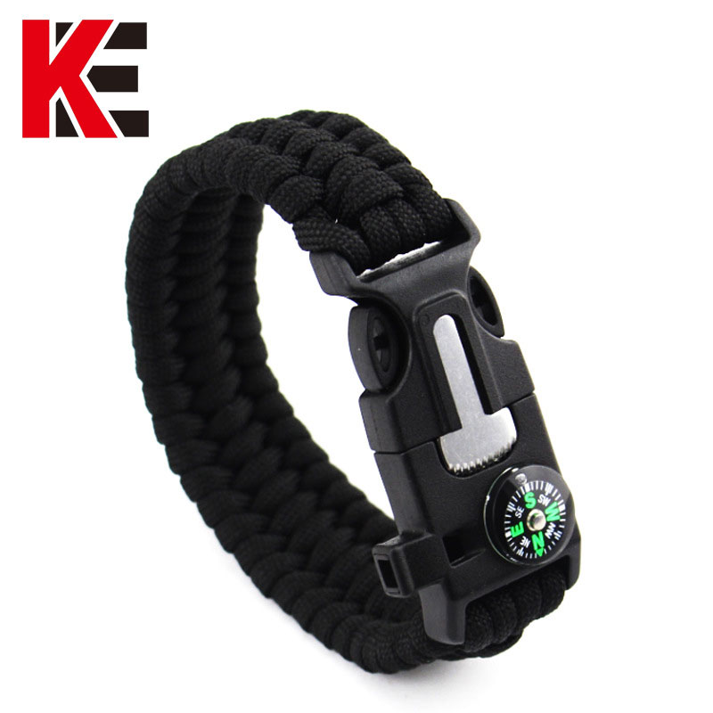 EK Survival Bracelet Compass 7 Feet Paracord Bracelet Hiking Scraper Whistle Flint