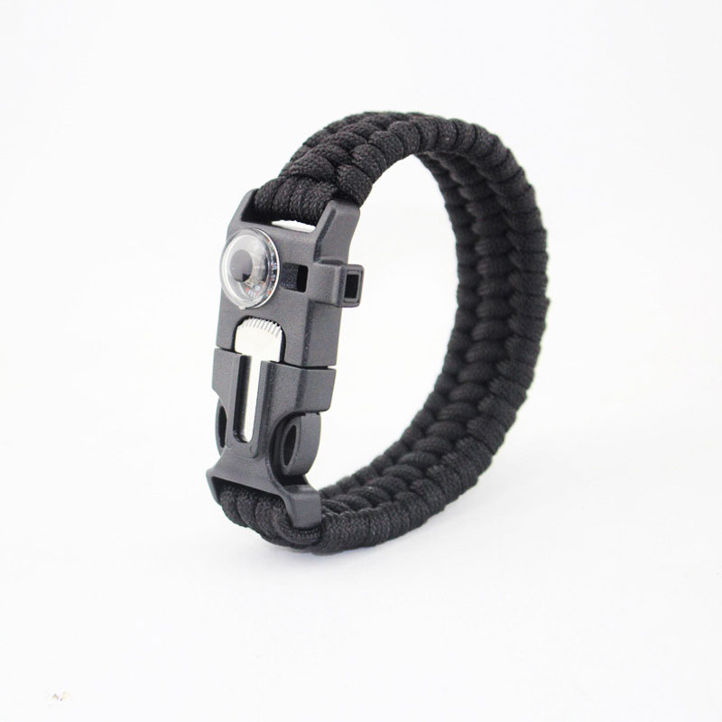 New Survival Wristband Flint Thermometer 7 Feet Paracord Scraper Whistle Hiking