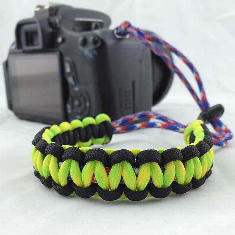Paracord Wristband Camera Hanging Rope Hiking Rescue Use Hand Weave Camera Strap