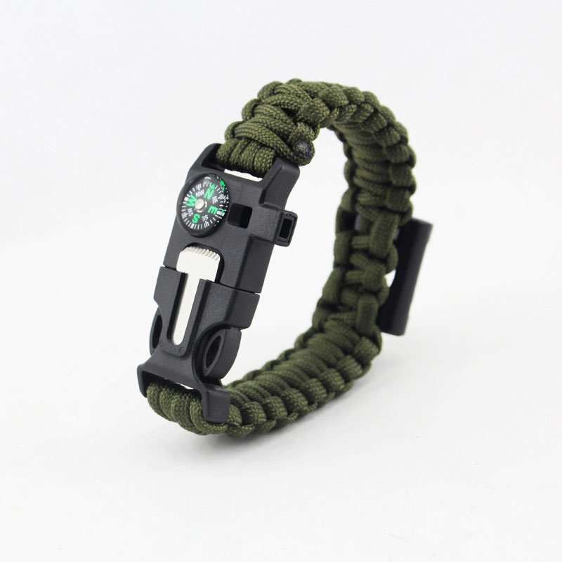 EK 7 Feet Paracord Bracelet Compass Survival Wristband Scraper Whistle Flint Bottle Opener
