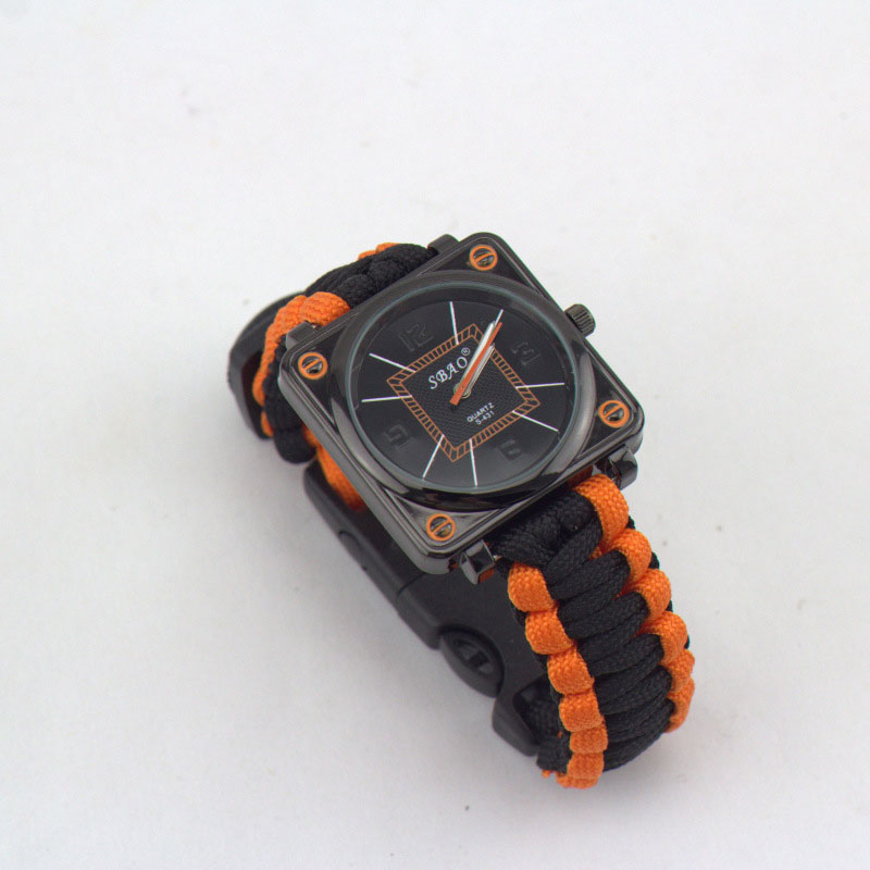 Hiking Watch 7 Feet Paracord Survival Wristwatch With Whistle Flint Compass