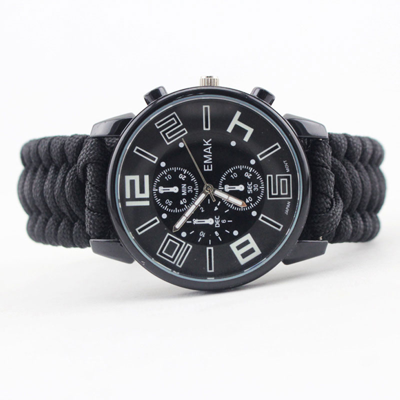 7 Feet Paracord Wristwatch Hiking Survival Watch Luminous With Whistle Flint Compass