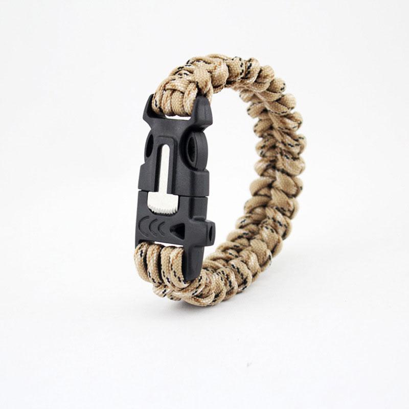 Fishbone Grain Wristband 7 Feet Paracord Hiking Survival Bracelet With Whistle Flint