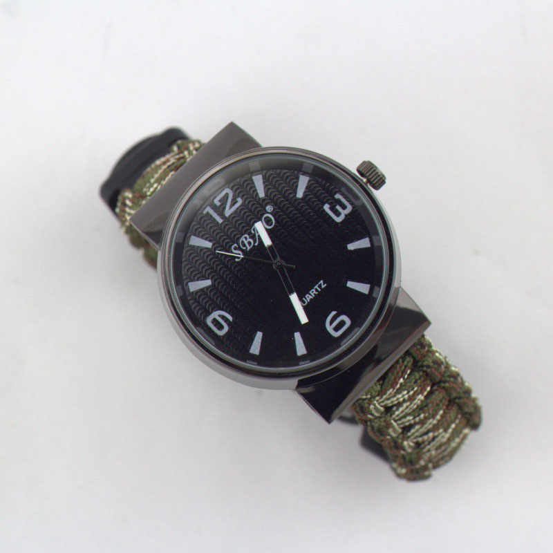 Hiking Survival Wristwatch 7 Feet Paracord With Whistle Flint Compass Scraper