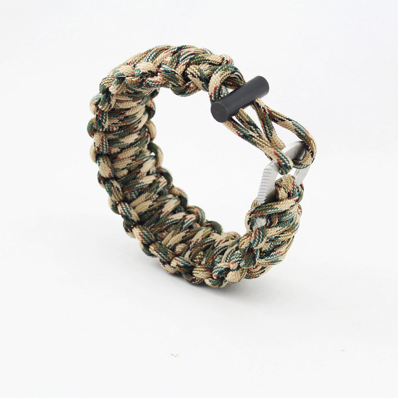 Outdoor Travel Emergency Use Wristband Survival 7 Feet Paracord With Whistle Flint