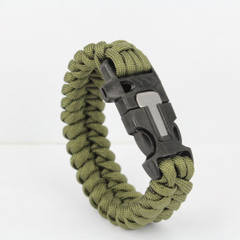 Outdoor Survival Wristband 7 Feet Paracord Bracelet With Whistle Flint Scraper