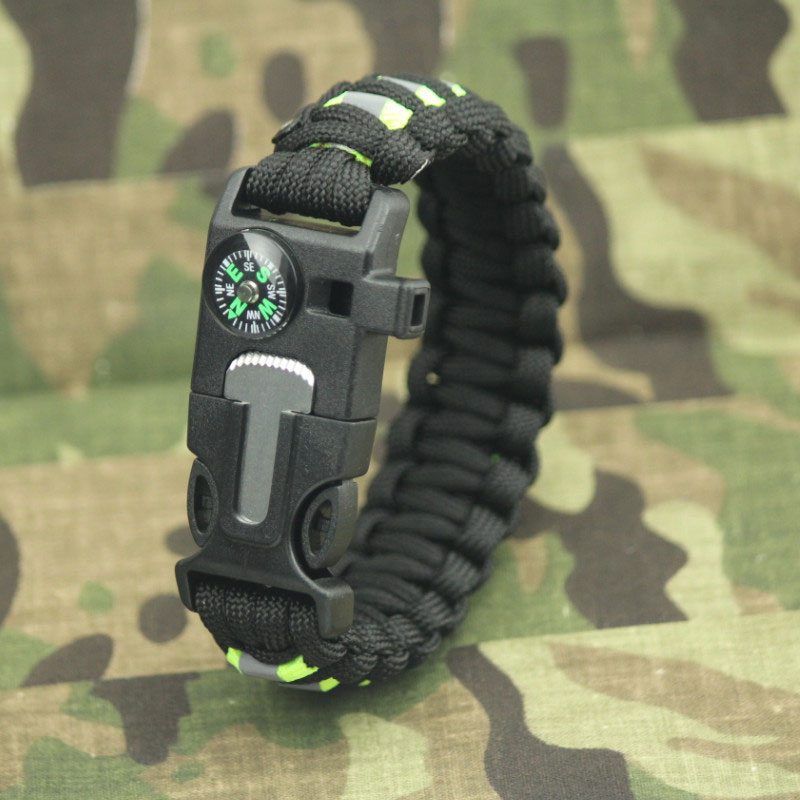 Outdoor Wristband Reflective Bracelet Paracord With Whistle Flint Scraper Compass