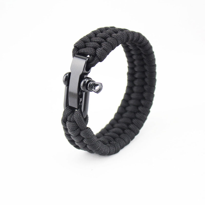 Outdoor Survival Bracelet 7 Feet Paracord Wristband With Adjustable Steel Buckle