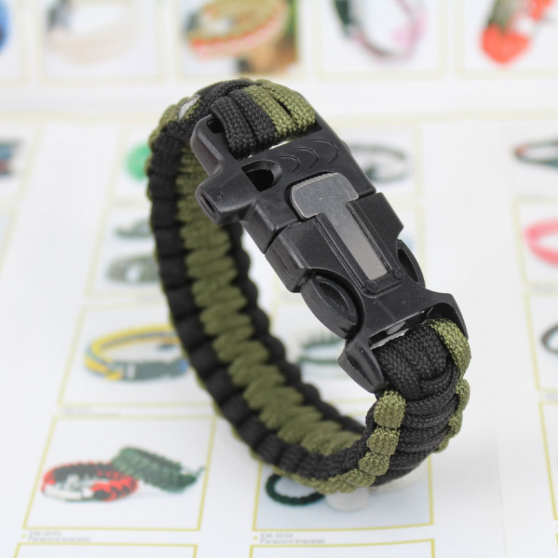 Outdoor Emergency Paracord Wristband 7 Feet Parachute Cord Whistle Flint Scraper