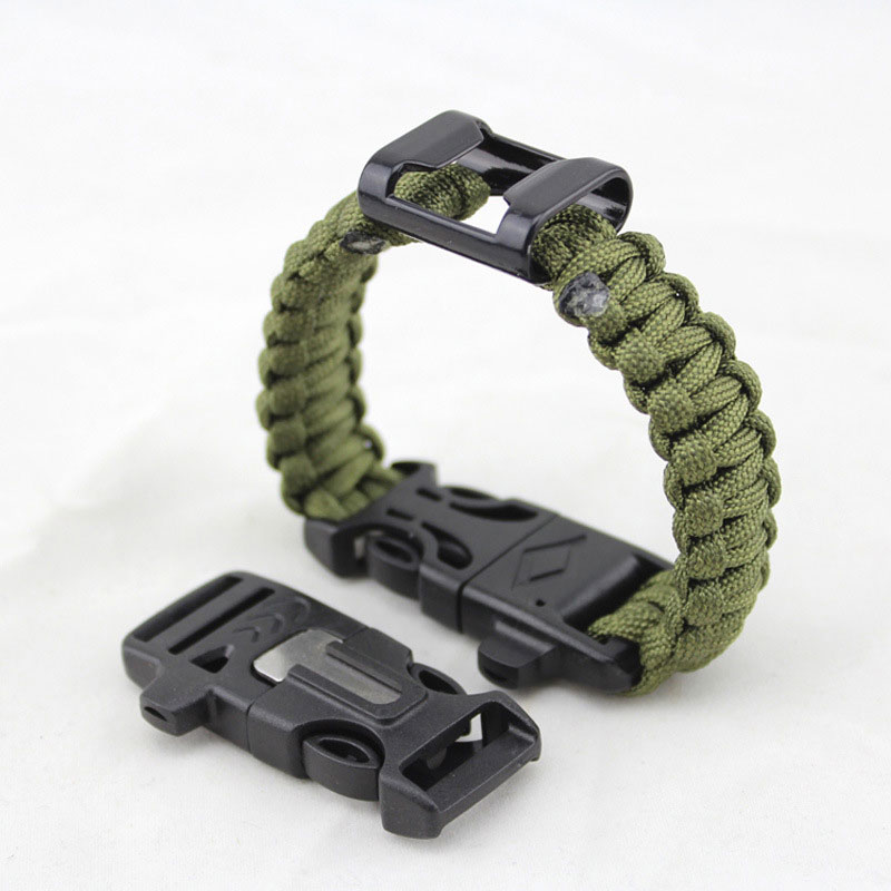 Hiking 7 Feet Paracord Bracelet Survival Wristband With Bottle Opener Whistle Flint