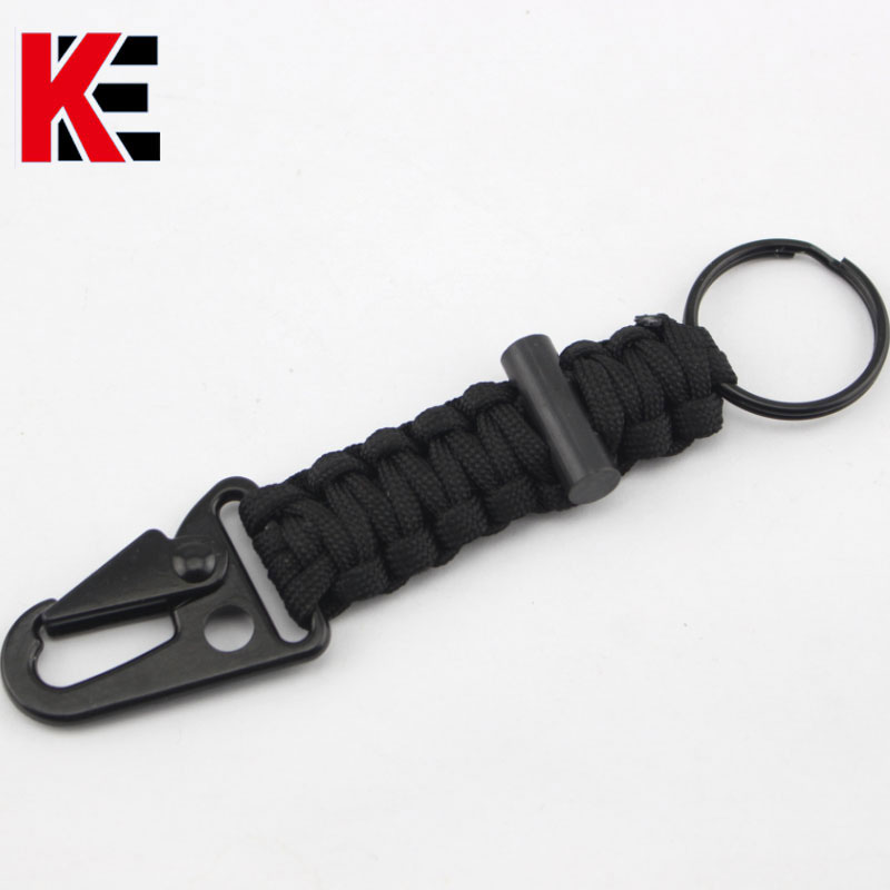 EK Mountain Hooks 7 Feet Paracord Key Chain With Flint Nylon Strap 4568