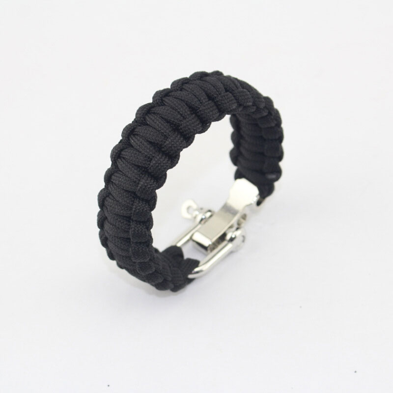 7 Feet Paracord Wristband With Adjustable Steel Buckle Outdoor Survival Bracelet