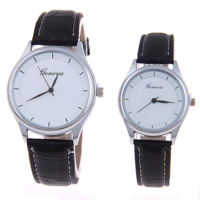Hot Geneva Couple Watch Casual Simple Quartz Watch Steel Leather Strap