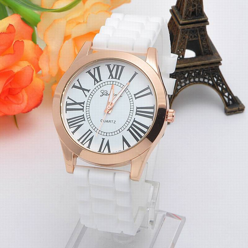 Geneva Silicone Dress Watch Quartz Women Watch Fashion Watch Rose Gold Case