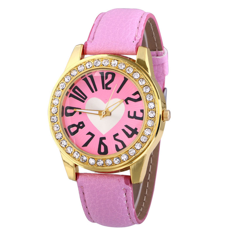 Fashion Women Watch Loving Heart Pattern Diamond Elegant Dress Watch