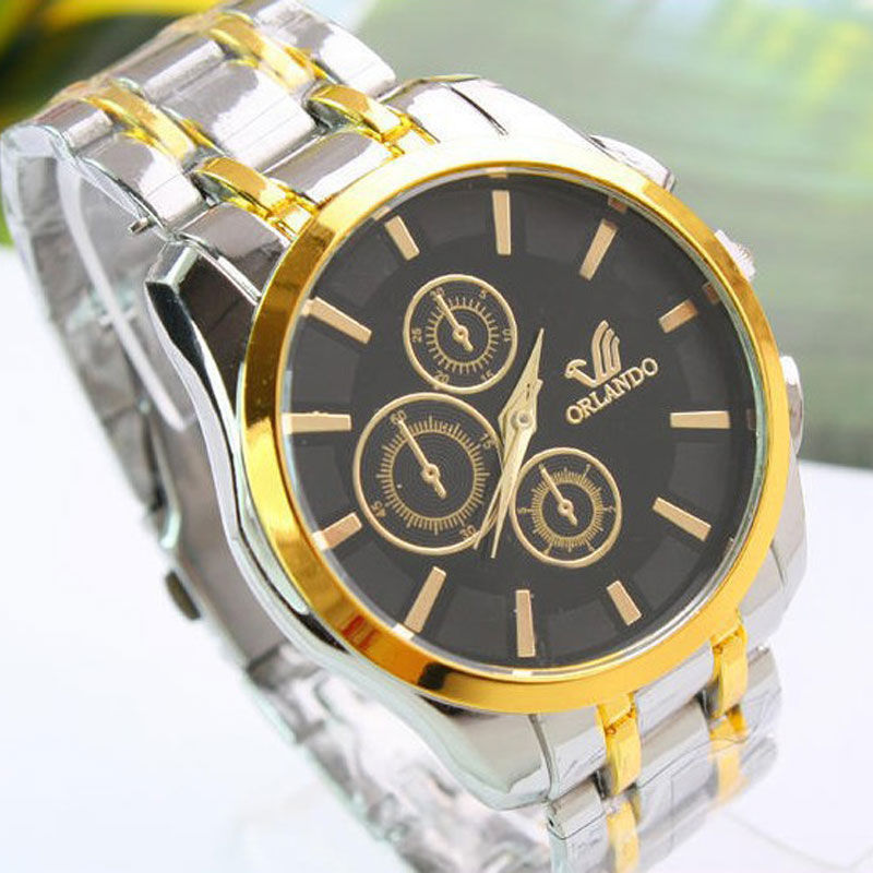 High Quality Men Steel Bracelet Watch Yellow Gold Three Subdials