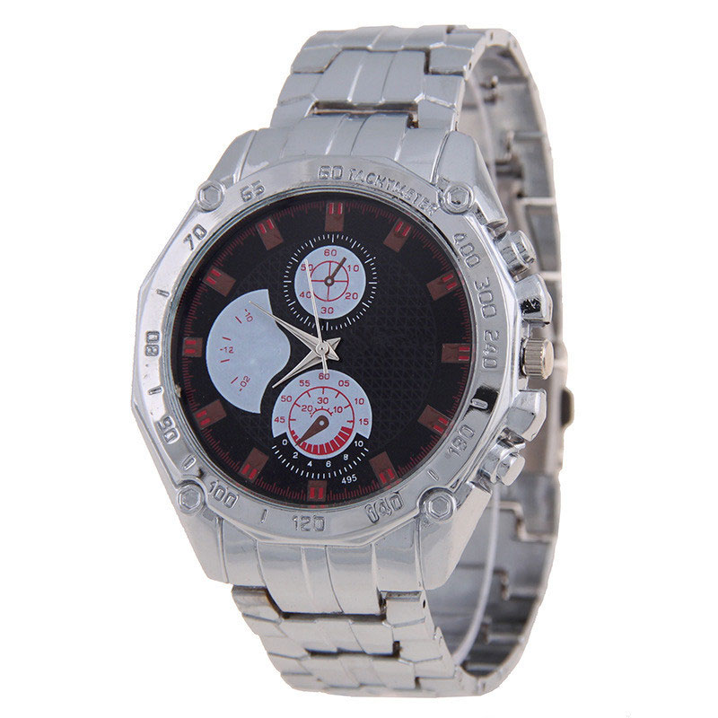 Hot Sale Sport Men Watch 495 Alloy Three Subdials Steel Bracelet