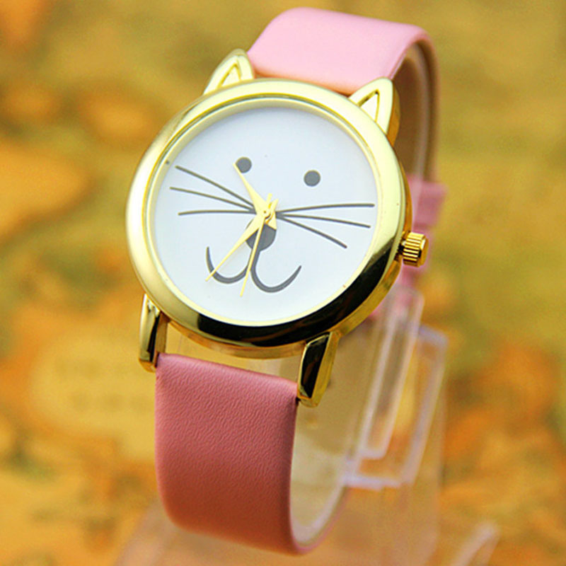 Casual Women Watch Quartz Watch Cat Face Pattern Dial Leather Strap