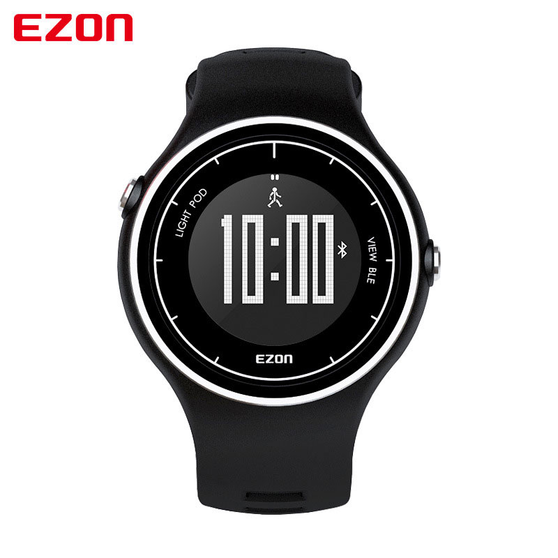 EZON Black Dial Rubber Strap with Alarm Pedometer Bluetooth Digital Watch S1A01