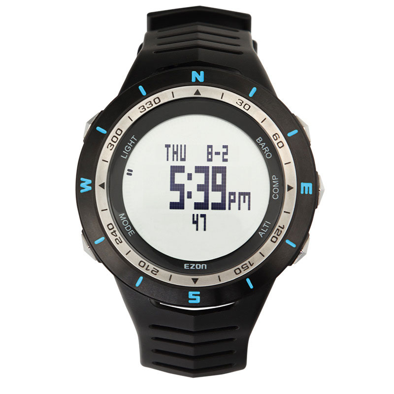 EZON Black Dial Rubber Strap with Altimeter Barometer Compass Digital Watch H005