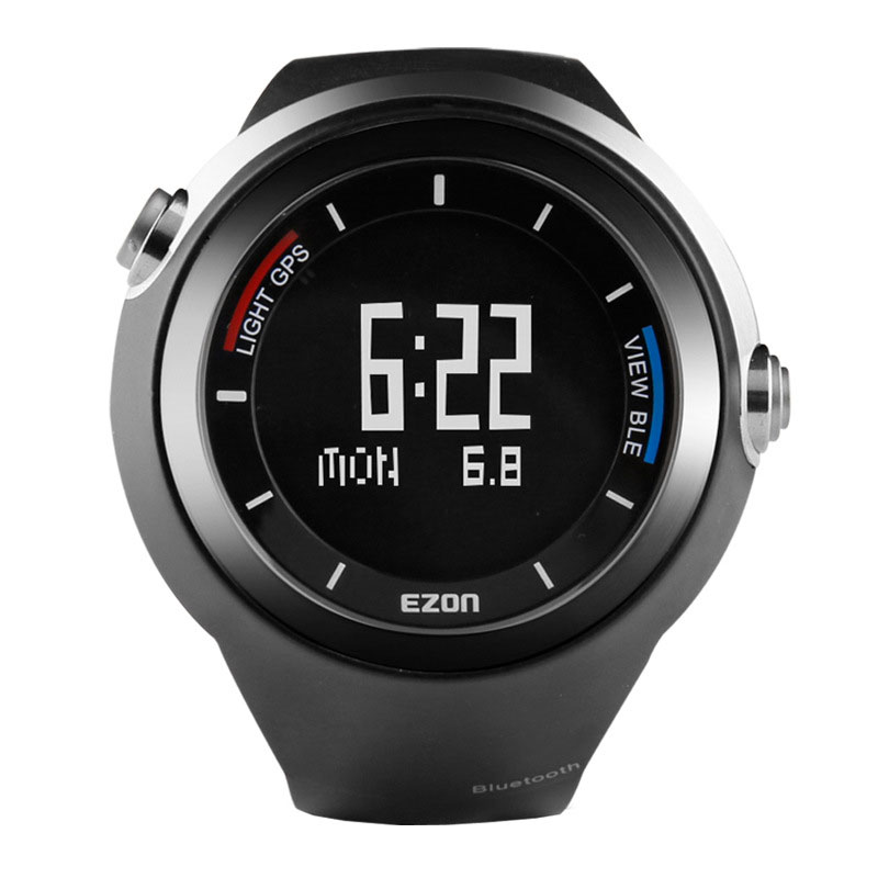 EZON Black Dial Rubber Strap with Smart GPS Thermometer Pedometer Digital Men Watch G2