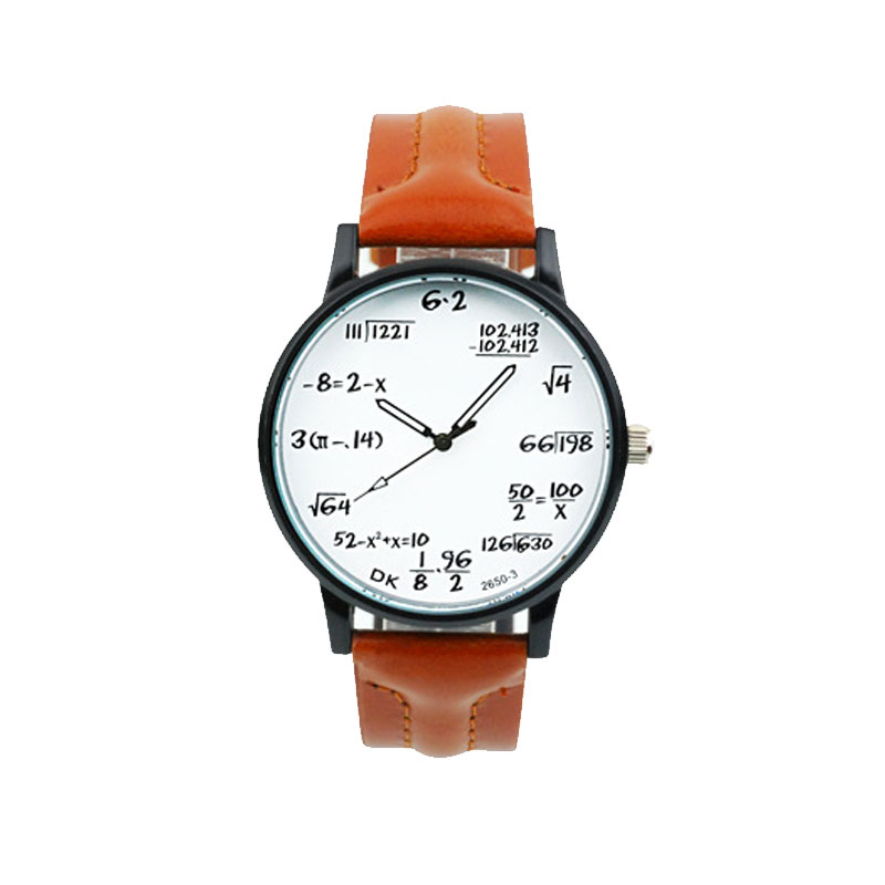 Fashion Quartz Watch With White Dial Mathematics Formula Markers Men Watch 70091