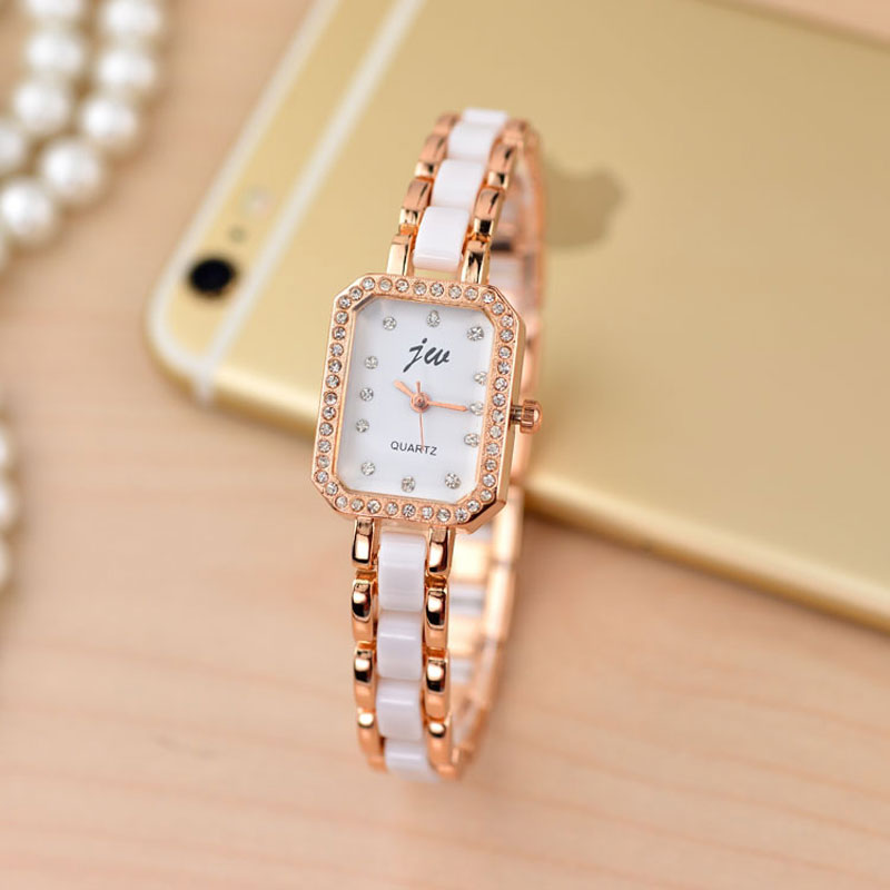 Fashion Ceramic Watch With White Dial Diamond Quartz Women Bracelet Watch 70230