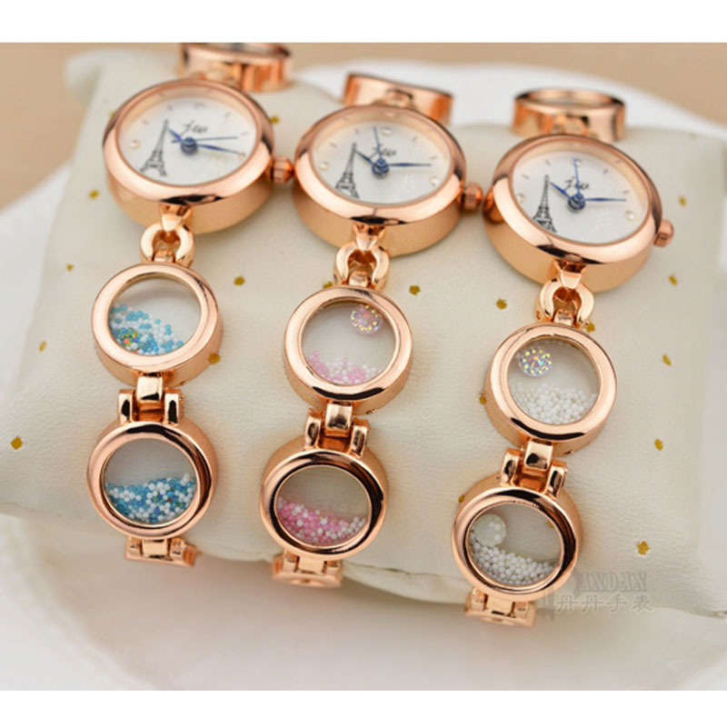 Fashion Small Watch With White Dial Tower Pattern Quartz Women Bracelet Watch 70174
