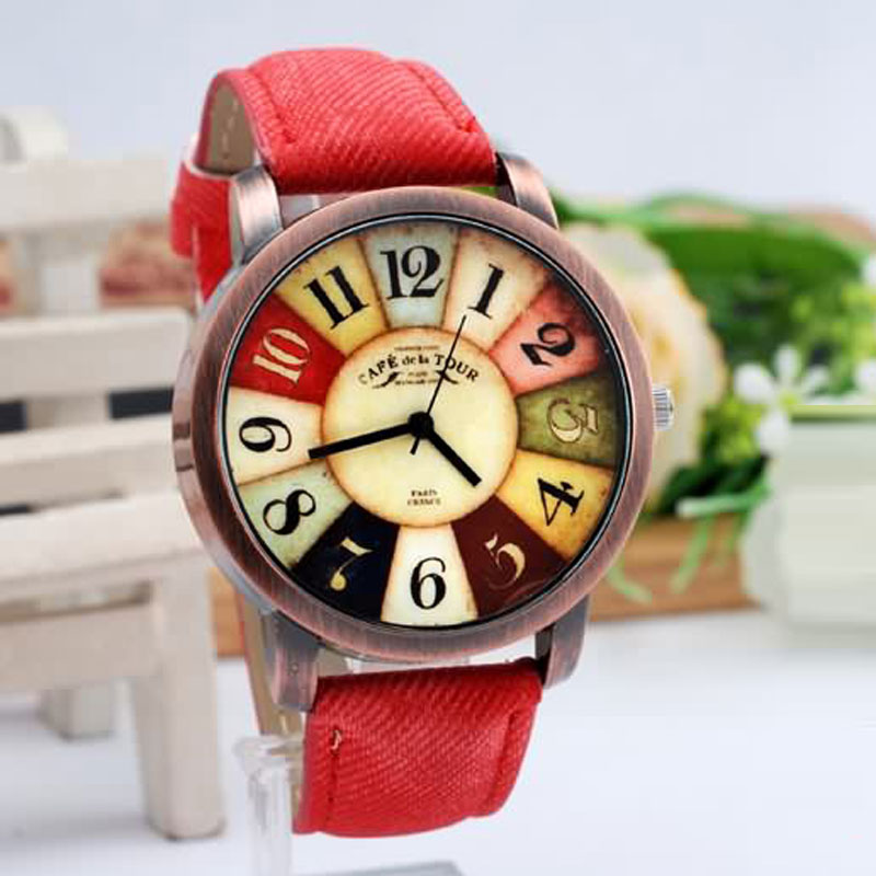 Vintage Women Watch With Quartz Colorful Dial Big Numbers Casual Watch 67631