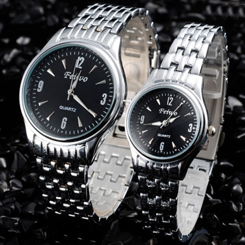 Full Steel Couple Watch With Black Dial Quartz Simple Business Watch 67717