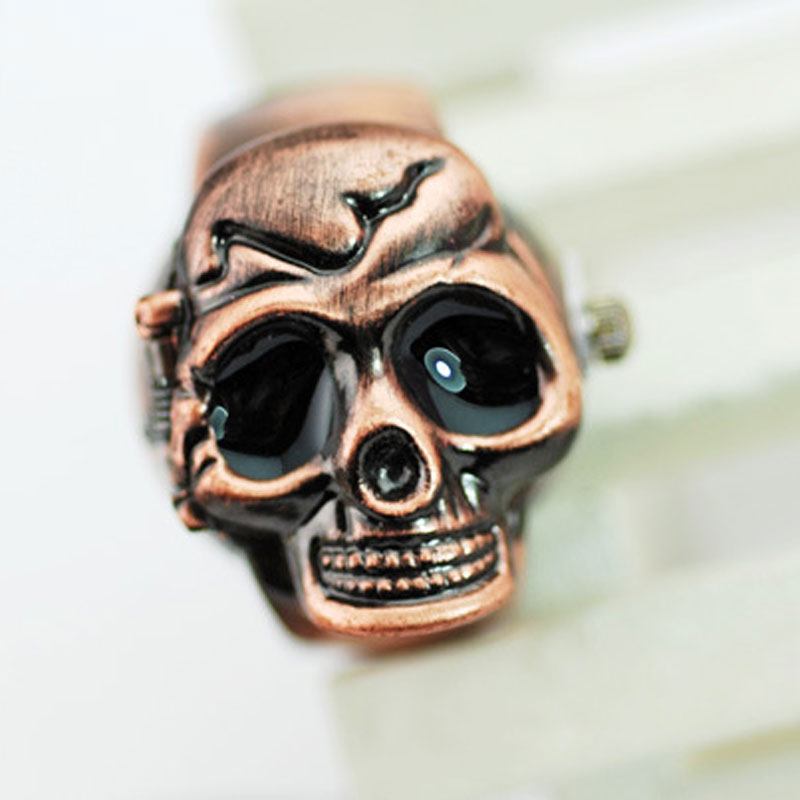Fashion Ring Watch With White Dial Quartz Skull Shape Vintage Watch 60360