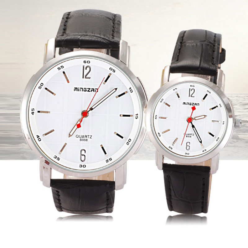 Fashion Couple Watch With Grid White Dial Quartz Casual Leather Watch 69655