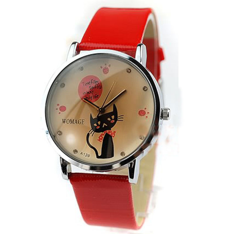 New Fashion Watch With kitty Pattern Dail Leather Strap Women Watch 62958