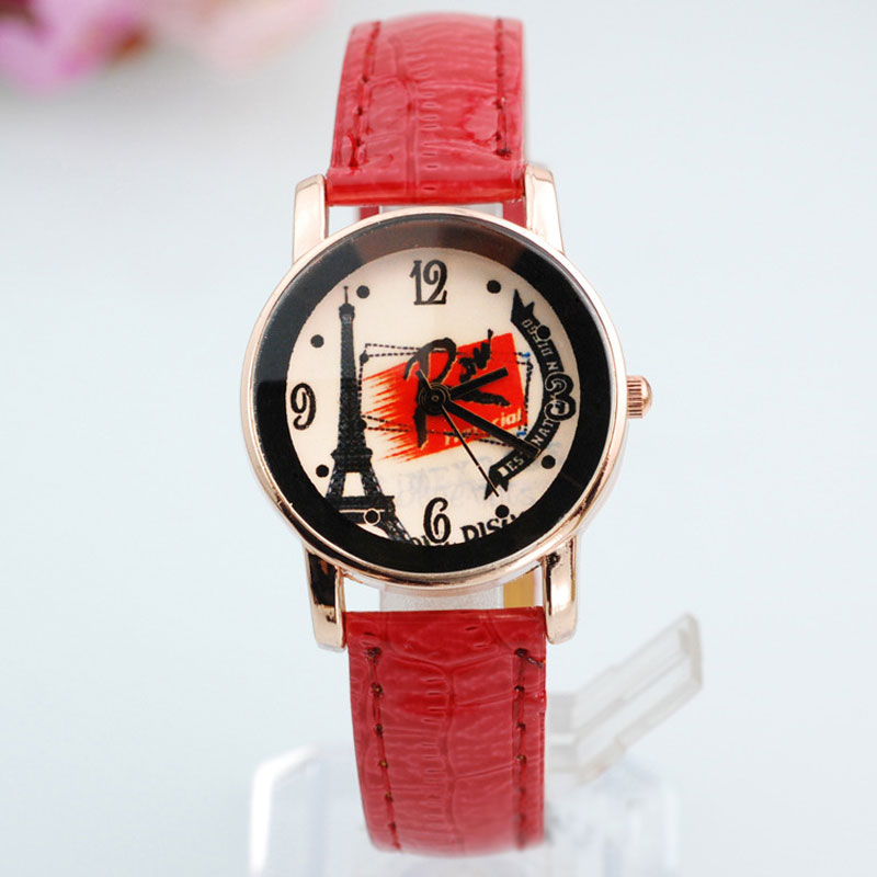 Fashion Watch With Beige Dail Eiffel Tower Pattern Casual Women Watch 67262