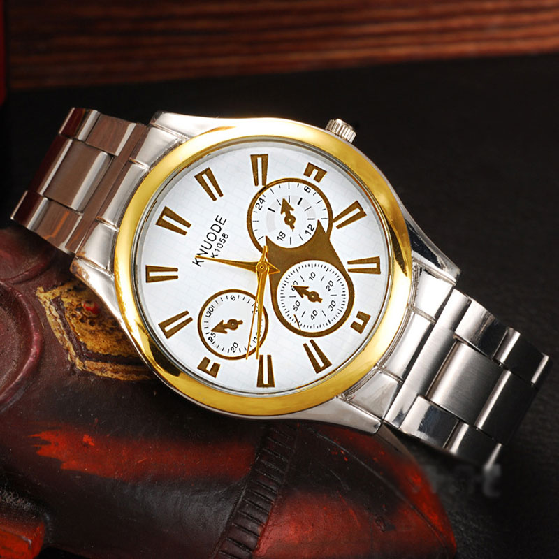 Casual Watch With Three Subdial Quartz Steel Men Watch 69150