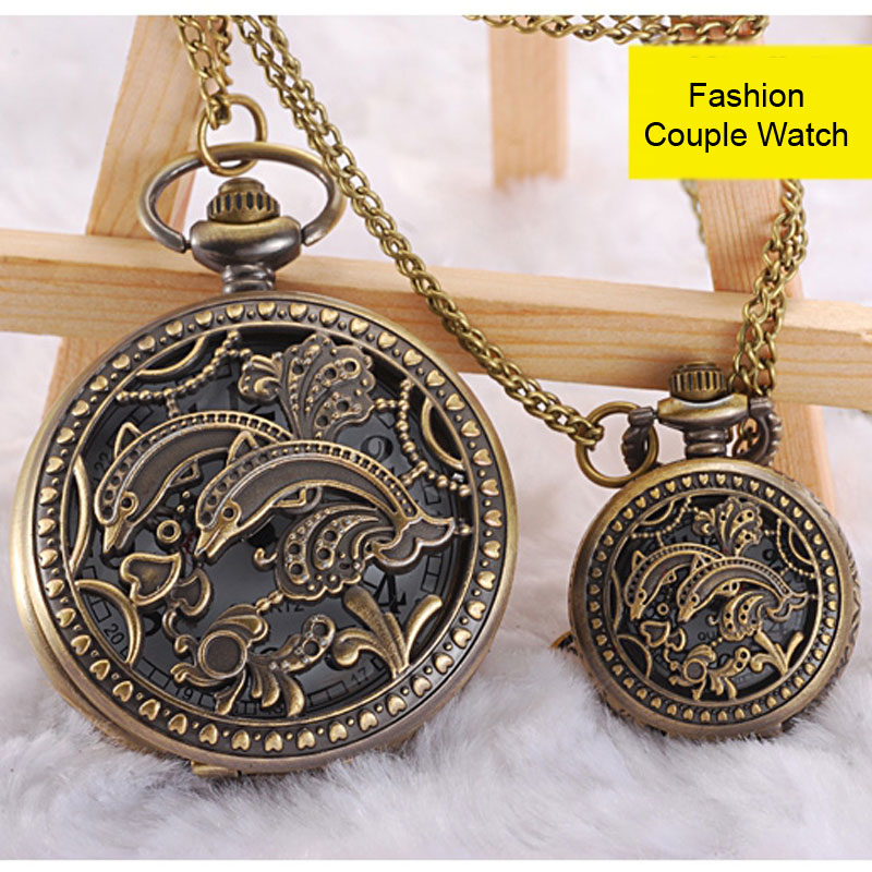 Fashion Necklace Watch With Dolphin Pattern Quartz Couple Watch 69428