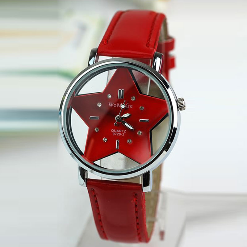 Casual Women Watch With Star Dial Quartz Leather Strap Dress Watch 63115