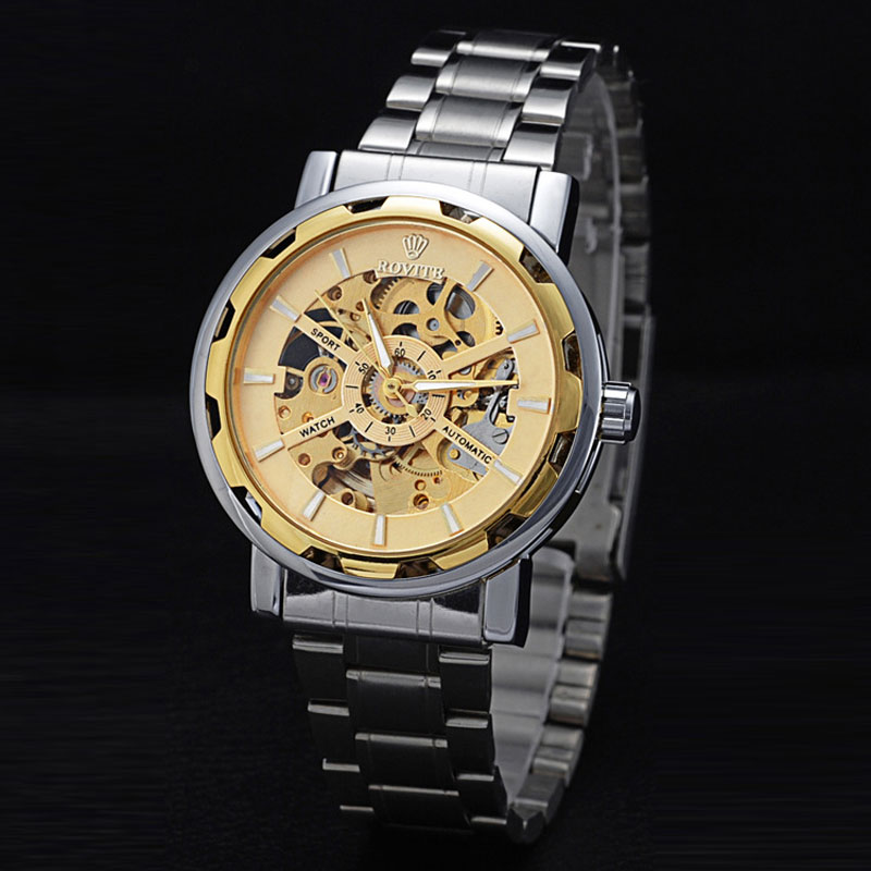 Business Men Watch With Gold Skeleton Dial Steel Automatic Watch 67437