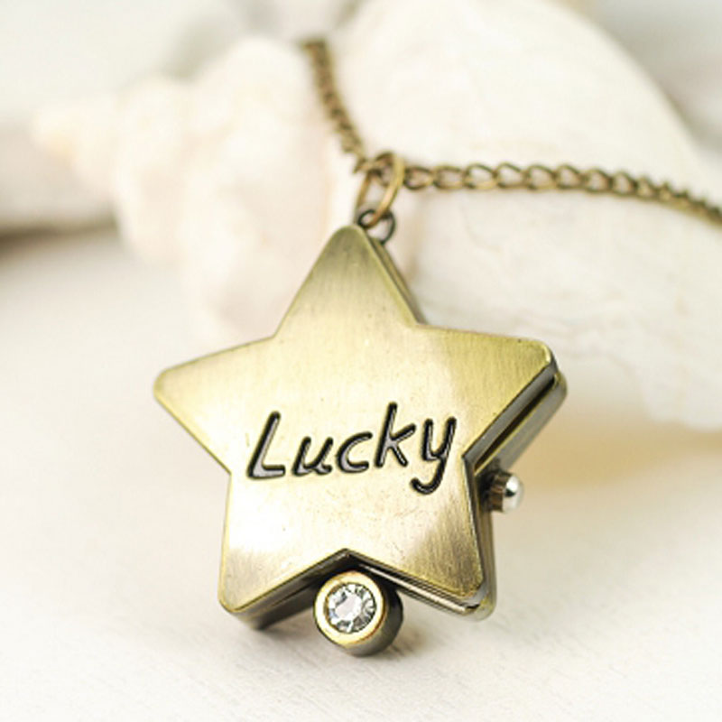 Fashion Necklace Watch White Dial Star Shape Lucky Quartz Women Watch 61170