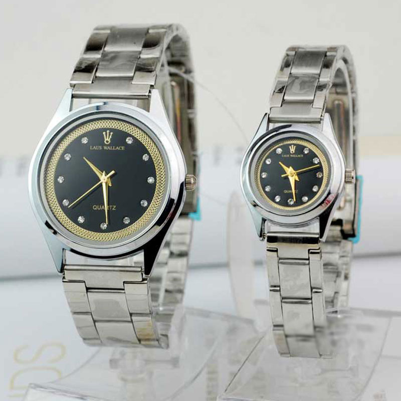 Casual Couple Watch With Black Dial Diamond Quartz Steel Watch 	65100