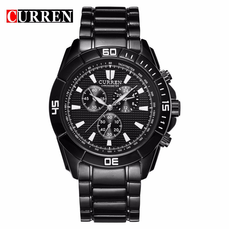 CURREN Business Watch With Three Subdials Full Black Men Watch 8044