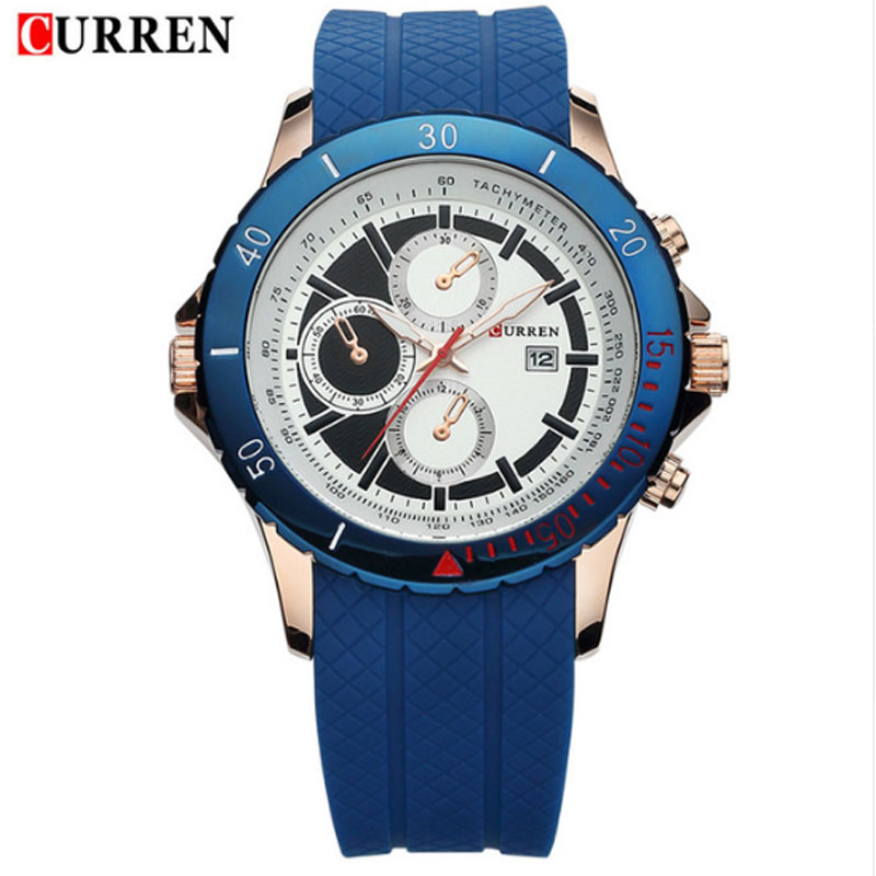 CURREN Business Watch With Three Subdials Date Silicone Men Watch 8143