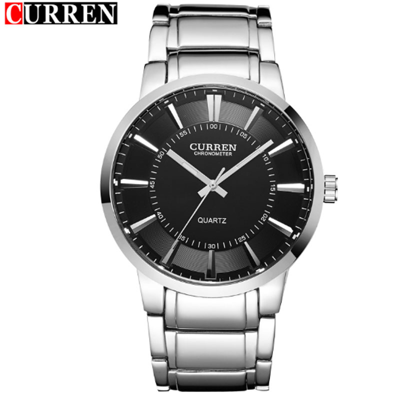 CURREN Casual Watch With Stick Markers Full Steel Men Watch 8001B