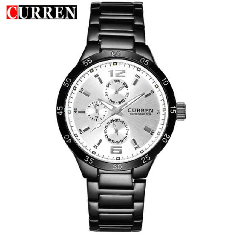 CURREN Business Watch With Black Bracelet Quartz Men Watch 8013B
