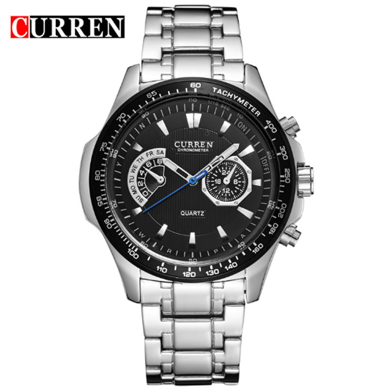CURREN Men Watch With Quartz Big Dial Steel PVD Casual Watch 8020