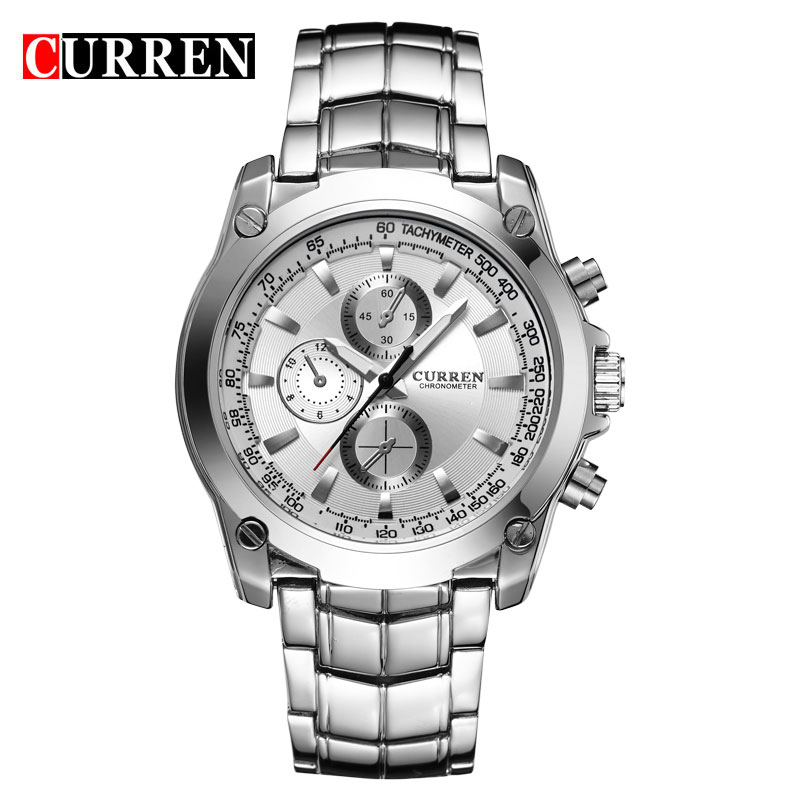 CURREN Casual Watch Quartz Three Decorative Subdial Full Steel Men Watch 8025
